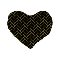 Brick2 Black Marble & Yellow Leather (r) Standard 16  Premium Flano Heart Shape Cushions by trendistuff