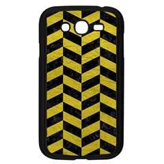 Chevron1 Black Marble & Yellow Leather Samsung Galaxy Grand Duos I9082 Case (black) by trendistuff