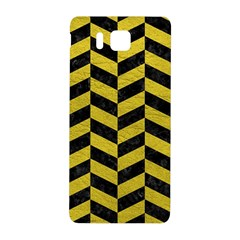 Chevron1 Black Marble & Yellow Leather Samsung Galaxy Alpha Hardshell Back Case by trendistuff