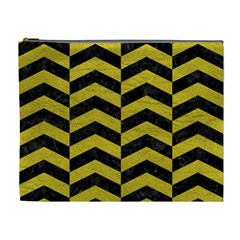 Chevron2 Black Marble & Yellow Leather Cosmetic Bag (xl) by trendistuff