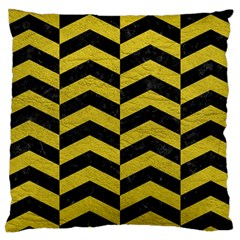 Chevron2 Black Marble & Yellow Leather Large Cushion Case (two Sides) by trendistuff