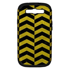 Chevron2 Black Marble & Yellow Leather Samsung Galaxy S Iii Hardshell Case (pc+silicone) by trendistuff