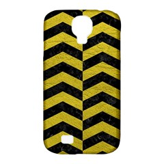 Chevron2 Black Marble & Yellow Leather Samsung Galaxy S4 Classic Hardshell Case (pc+silicone) by trendistuff