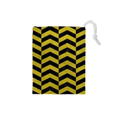 Chevron2 Black Marble & Yellow Leather Drawstring Pouches (small)  by trendistuff