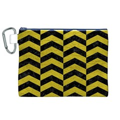 Chevron2 Black Marble & Yellow Leather Canvas Cosmetic Bag (xl)