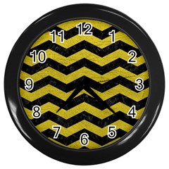 Chevron3 Black Marble & Yellow Leather Wall Clocks (black) by trendistuff