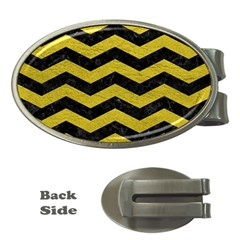 Chevron3 Black Marble & Yellow Leather Money Clips (oval)  by trendistuff