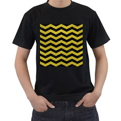 Chevron3 Black Marble & Yellow Leather Men s T Shirt (black) (two Sided)