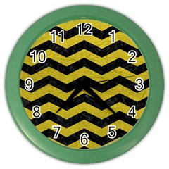 Chevron3 Black Marble & Yellow Leather Color Wall Clocks by trendistuff