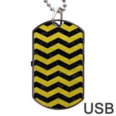 Chevron3 Black Marble & Yellow Leather Dog Tag Usb Flash (one Side) by trendistuff