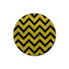 Chevron9 Black Marble & Yellow Leather Rubber Coaster (round)  by trendistuff