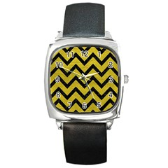 Chevron9 Black Marble & Yellow Leather Square Metal Watch by trendistuff