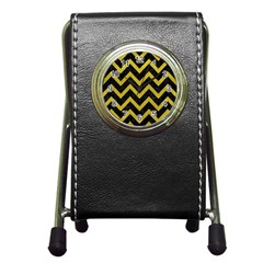Chevron9 Black Marble & Yellow Leather (r) Pen Holder Desk Clocks by trendistuff