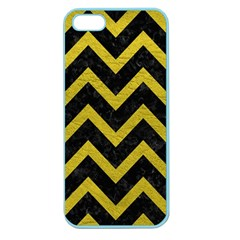 Chevron9 Black Marble & Yellow Leather (r) Apple Seamless Iphone 5 Case (color)