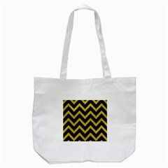 Chevron9 Black Marble & Yellow Leather (r) Tote Bag (white) by trendistuff