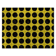 Circles1 Black Marble & Yellow Leather Rectangular Jigsaw Puzzl by trendistuff