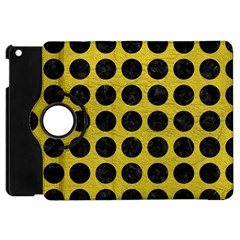 Circles1 Black Marble & Yellow Leather Apple Ipad Mini Flip 360 Case by trendistuff