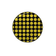 Circles1 Black Marble & Yellow Leather (r) Hat Clip Ball Marker by trendistuff