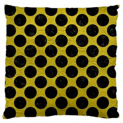 Circles2 Black Marble & Yellow Leather Large Cushion Case (two Sides) by trendistuff