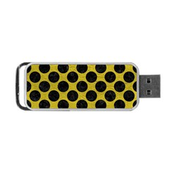 Circles2 Black Marble & Yellow Leather Portable Usb Flash (one Side) by trendistuff