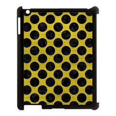 Circles2 Black Marble & Yellow Leather Apple Ipad 3/4 Case (black) by trendistuff