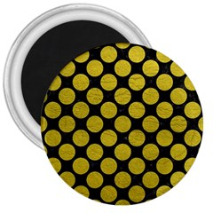Circles2 Black Marble & Yellow Leather (r) 3  Magnets by trendistuff
