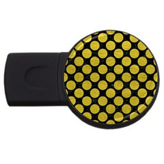 Circles2 Black Marble & Yellow Leather (r) Usb Flash Drive Round (2 Gb) by trendistuff