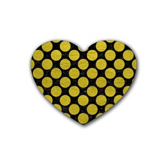 Circles2 Black Marble & Yellow Leather (r) Heart Coaster (4 Pack)