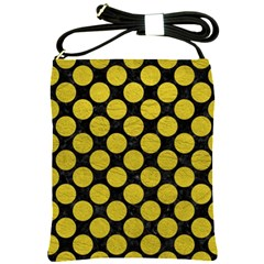 Circles2 Black Marble & Yellow Leather (r) Shoulder Sling Bags by trendistuff
