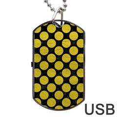 Circles2 Black Marble & Yellow Leather (r) Dog Tag Usb Flash (two Sides) by trendistuff