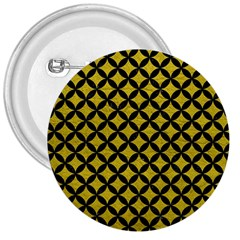 Circles3 Black Marble & Yellow Leather 3  Buttons by trendistuff