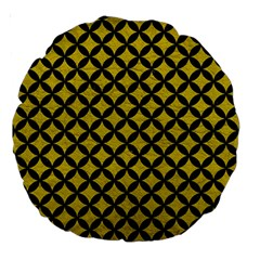 Circles3 Black Marble & Yellow Leather Large 18  Premium Round Cushions by trendistuff