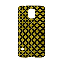 Circles3 Black Marble & Yellow Leather Samsung Galaxy S5 Hardshell Case  by trendistuff