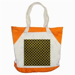 Circles3 Black Marble & Yellow Leather (r) Accent Tote Bag