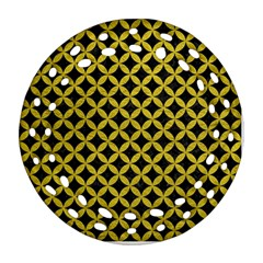 Circles3 Black Marble & Yellow Leather (r) Ornament (round Filigree) by trendistuff