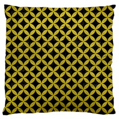 Circles3 Black Marble & Yellow Leather (r) Large Cushion Case (two Sides) by trendistuff