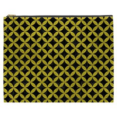 Circles3 Black Marble & Yellow Leather (r) Cosmetic Bag (xxxl)  by trendistuff