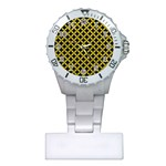 CIRCLES3 BLACK MARBLE & YELLOW LEATHER (R) Plastic Nurses Watch Front