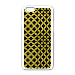 Circles3 Black Marble & Yellow Leather (r) Apple Iphone 6/6s White Enamel Case