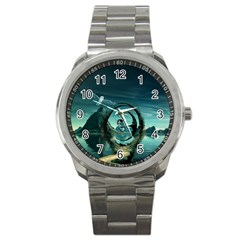 Cute Fairy Dancing On The Moon Sport Metal Watch by FantasyWorld7