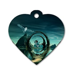 Cute Fairy Dancing On The Moon Dog Tag Heart (one Side) by FantasyWorld7