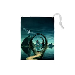 Cute Fairy Dancing On The Moon Drawstring Pouches (small)  by FantasyWorld7