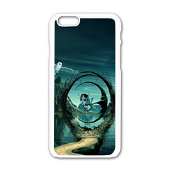 Cute Fairy Dancing On The Moon Apple Iphone 6/6s White Enamel Case by FantasyWorld7