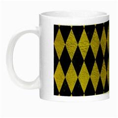Diamond1 Black Marble & Yellow Leather Night Luminous Mugs by trendistuff
