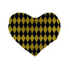 Diamond1 Black Marble & Yellow Leather Standard 16  Premium Flano Heart Shape Cushions by trendistuff
