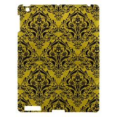 Damask1 Black Marble & Yellow Leather Apple Ipad 3/4 Hardshell Case by trendistuff