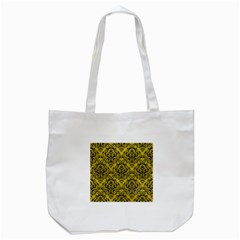 Damask1 Black Marble & Yellow Leather Tote Bag (white) by trendistuff