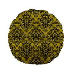 Damask1 Black Marble & Yellow Leather Standard 15  Premium Flano Round Cushions by trendistuff