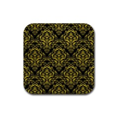 Damask1 Black Marble & Yellow Leather (r) Rubber Square Coaster (4 Pack)  by trendistuff