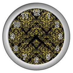 Damask1 Black Marble & Yellow Leather (r) Wall Clocks (silver)  by trendistuff